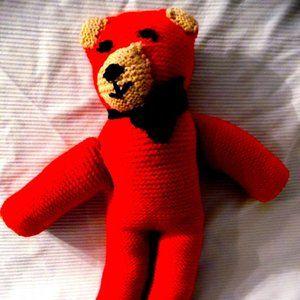 Handmade Bright RED Crochet knit Plush Bear